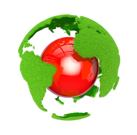 environment geography: Earth with grass elements on a surface and red ball