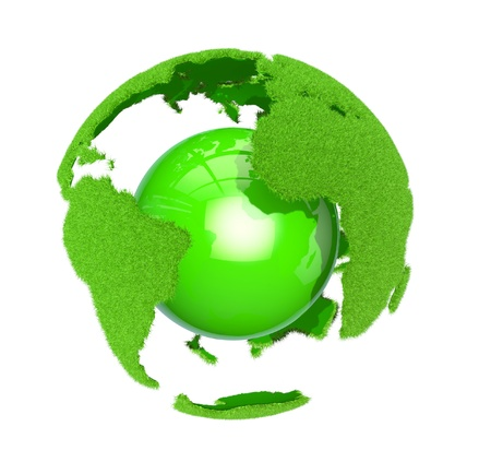 international recycle symbol: Earth with grass elements on a surface and green ball
