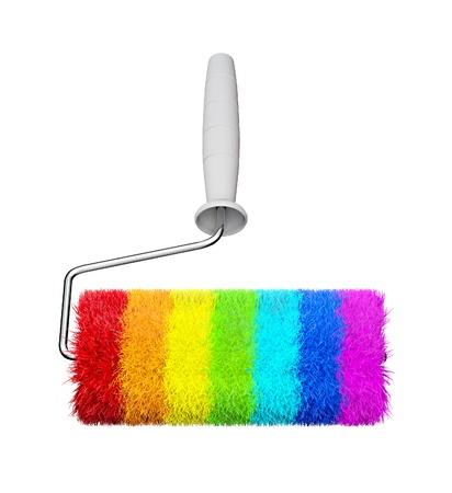 pelage: Color rainbow roll brush illustration on a white Stock Photo