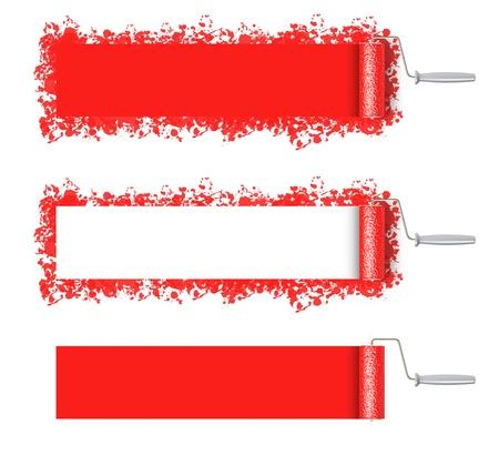 roller brush: Roll brush red blank, illustration on a white Stock Photo