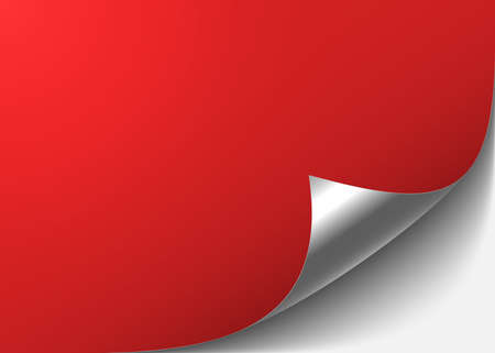 Red abstract background with a bent silver corner. Vector illustration.