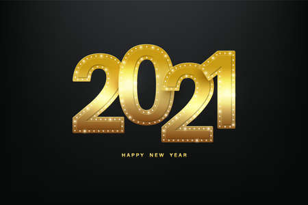 Happy New Year 2021. Gold metal letters decorated with diamonds on the edges. Vector illustration.
