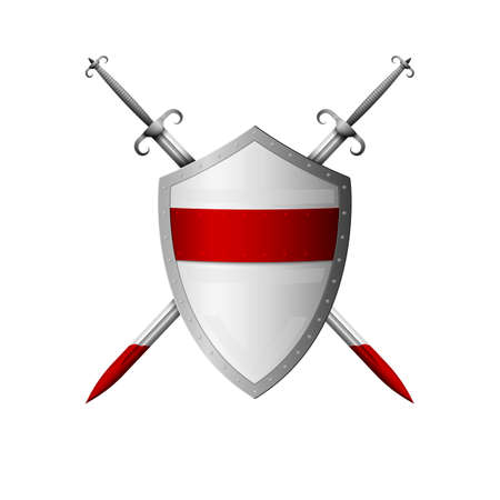 Medieval realistic shield and sword. Vector illustration.