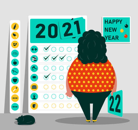 Happy 2021 New Year. The concept of ideas for the development and healthy lifestyle in the new year. Vector illustration.