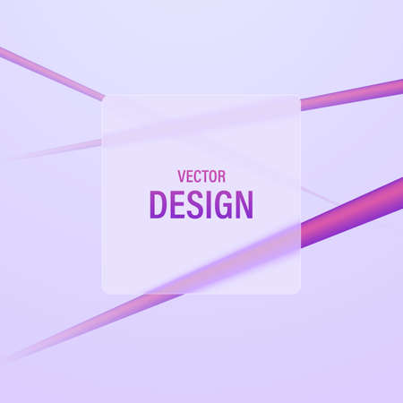 Abstract background of dynamic lines and frosted glass transparent frame for text. Vector illustration.