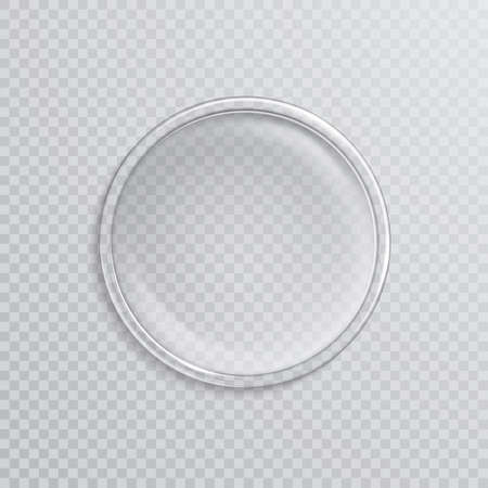 Empty realistic petri dish isolated on transparent background. Vector illustration.