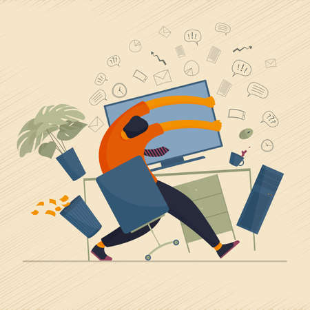 The concept of human character overload with information and mental breakdown while working at the computer. Vector illustration.