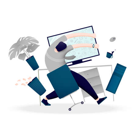 A person is overwhelmed with a lot of information and data. The concept of mental breakdown at work at the computer. Vector illustration.