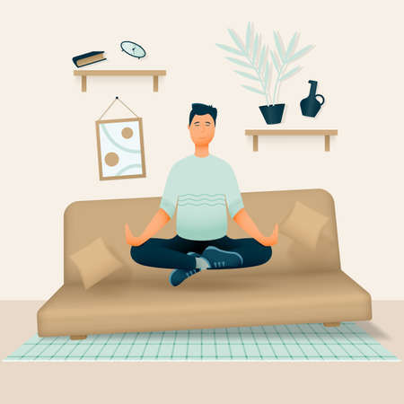 A relaxed smiling man sits in his room or apartment on a soft sofa with his legs crossed and meditates. Vector illustration.