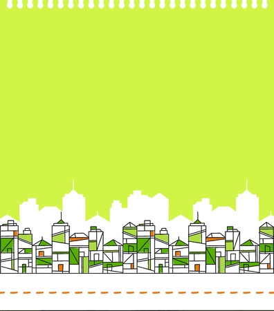 polluted: Abstract Green City Skyline Vector Illustration