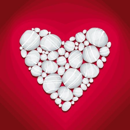 Heart of Stone Vector Illustration in deep red background Vector