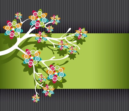 stylistic: Stylized Tree with Colorful Blossoms on Green and Black Striped Background Vector Illustration eps8 Illustration