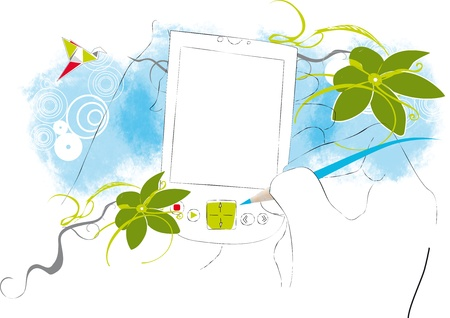 touchpad: Abstract Floral TouchPad Illustration with Free Space for your Greeting