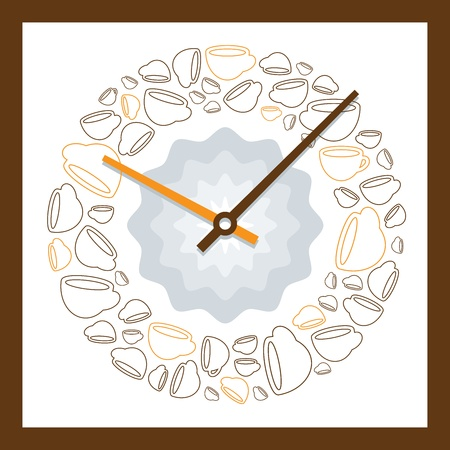 coffee hour: illustration of the dial of a pretty decorative clock with a pattern of coffee cups showing a time of ten past ten in the morning, a perfect time for a coffee break Illustration
