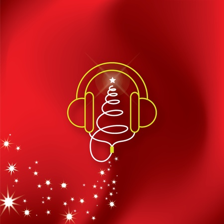 Music Headphones Christmas Tree Illustration  Vector