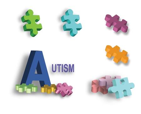 enfermedades mentales: P�gina completa de coloridas piezas del rompecabezas del autismo y una de las piezas