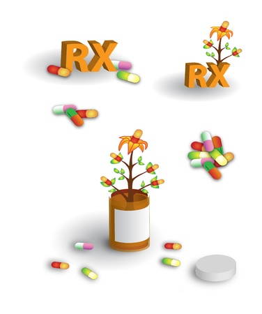 medica: Colorful page of herbal medicine, pills, pill bottle, and RX label