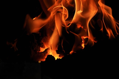 hearthside: Flames of a fire Stock Photo
