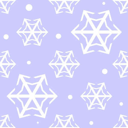 harsh: Lacy white snowflakes drift across a cloudless blue sky, repeats seamlessly, easy to change colors. Illustration