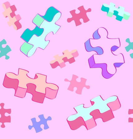 pervasive: Seamless vector swatch of colorful and fun Autism puzzle pieces. No radial gradients, no 3D effects, easy to edit. Illustration