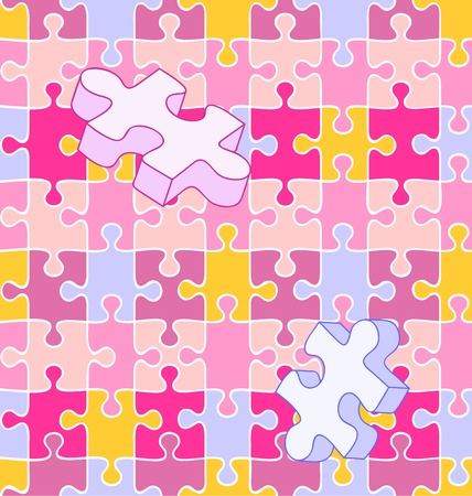 trait: Seamless vector swatch of colorful wall-to-wall puzzle pieces. White lines included on separate layer, so you can turn ANY pattern or color into a puzzle!