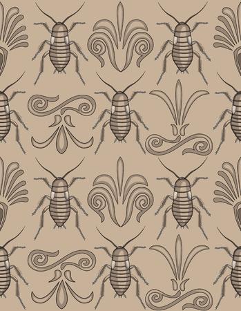 gruselig: Musterfeld von eleganten Arabesken Strudeln im Wechsel mit gruseligen crawly Kakerlaken-v�llig einzigartiges Konzept f�r einen Hintergrund! Illustration