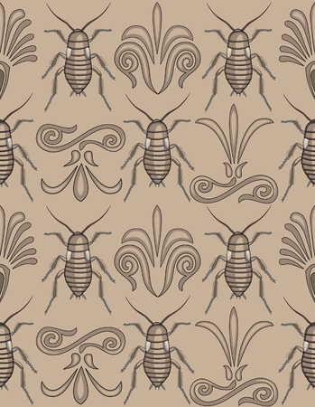 Pattern swatch of elegant arabesque swirls alternating with creepy crawly cockroaches- totally unique approach to a background!