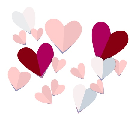 Vector of 3D paper heart cut outs. No gradients or 3d effects, easy to edit, looks very real!! Illustration