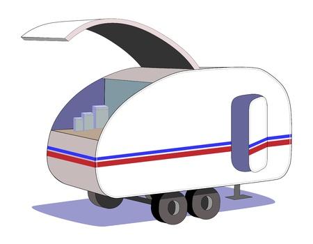 Teardrop trailer with kitchen hatch open
