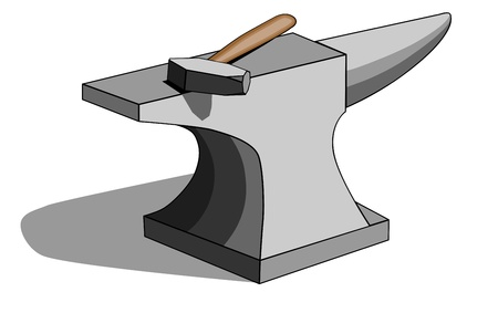 Vector illustration of classic blacksmith s anvil and hammer isolated on white background  All layers labeled with no gradients or 3D effects for fast and easy editing  Illustration