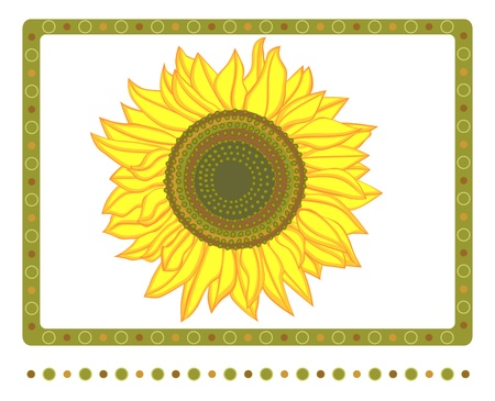 Bright Yellow sunflower with border Stock Vector - 14954919
