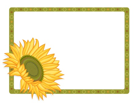 Bright Yellow sunflower with border Stock Vector - 14954921