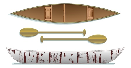 Canoe and paddles two views Vector