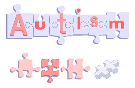 AUTISME titel op Puzzelstukjes Stock Illustratie