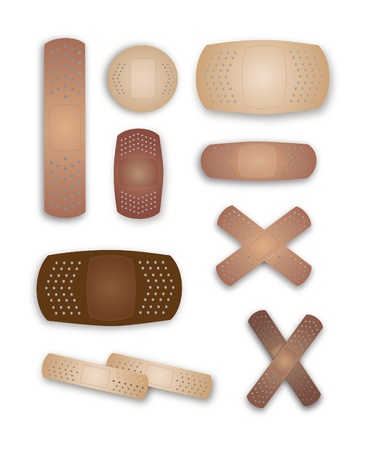 multiracial: Fabulous flesh colored band-aids Illustration
