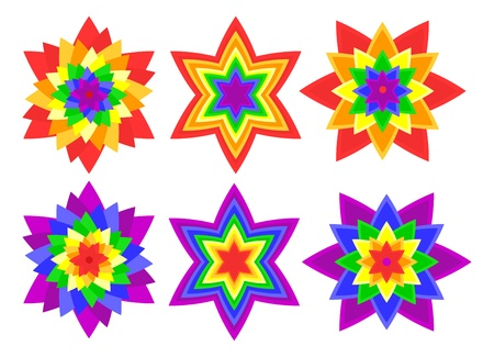 Rainbow kaleidoscope flowers Vector