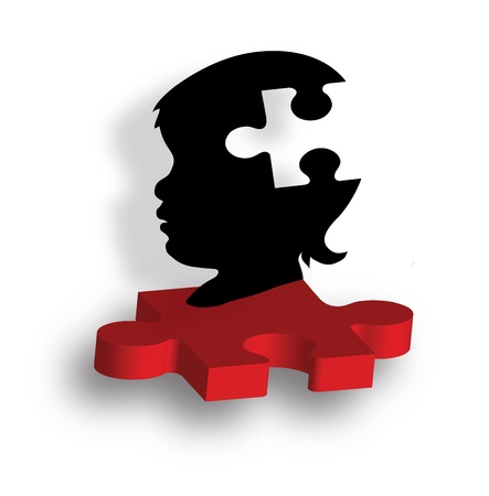 Child s silhouette on puzzle piece Vector