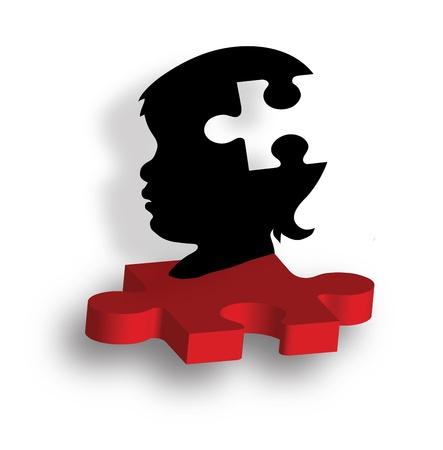 enfermedades mentales: S Child silueta en la pieza de puzzle