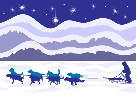 eskimo dog: Musher and dog sled by moonlight- beautiful  Illustration