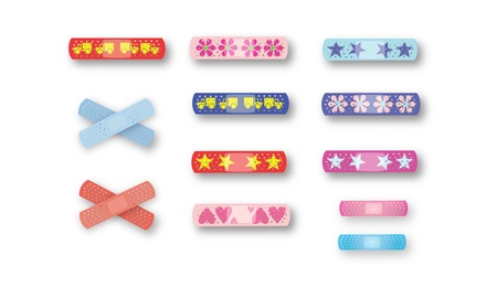 medical dressing: Colorful kids band-aids, full page