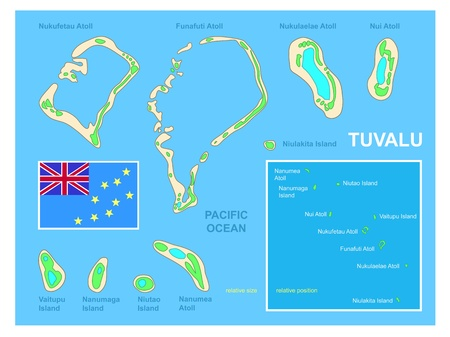 undeveloped: Tuvalu map and Flag