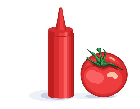 Tomato and ketchup dispenser Illustration