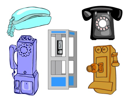 Full page of telephones and phone booth Illustration