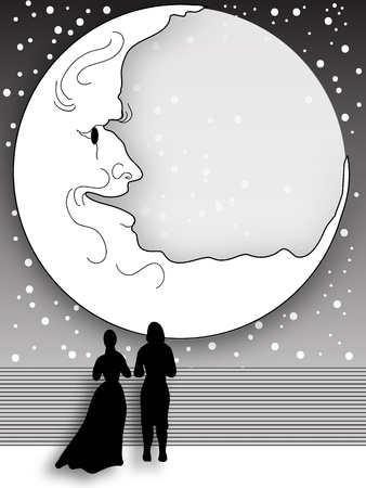 Moonlight Stroll, beautiful vector for invitation or announcement