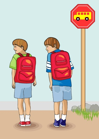 Bold and colorful vectors illustration of two young brothers waiting for the bus on the first day of school Vectores