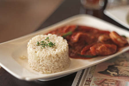 rice and food taste delicious served with spicy shrimp  photo