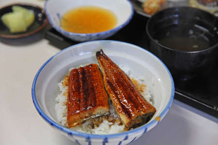 susi: Japanese food, grilled eel on rice, susi, onion, sauce condiments  Stock Photo