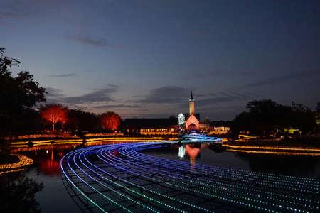 Japanese flower garden in the evening. Stock Photo