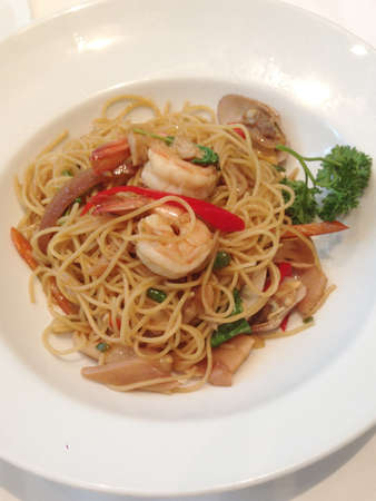 Seafood pasta with white wine sauce