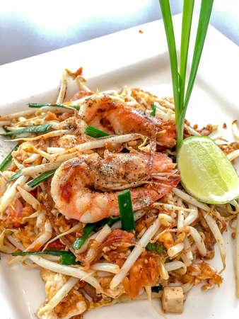 Pad Thai, Thailand fried shrimp. Homemade Asian Pad Thai with shrimp and cilantro